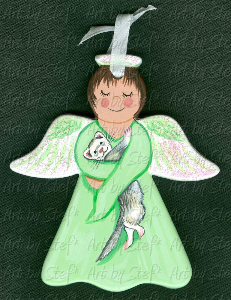 Collectables; Mint Green Arms of an Angel; Hand Painted Ceramic Ornament; Stef