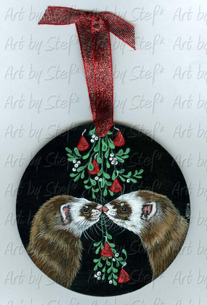 Ferrets; Mistletoe and Chocolate Kisses; Mistletoe and Chocolate Kisses Painting/Ornament; Stef