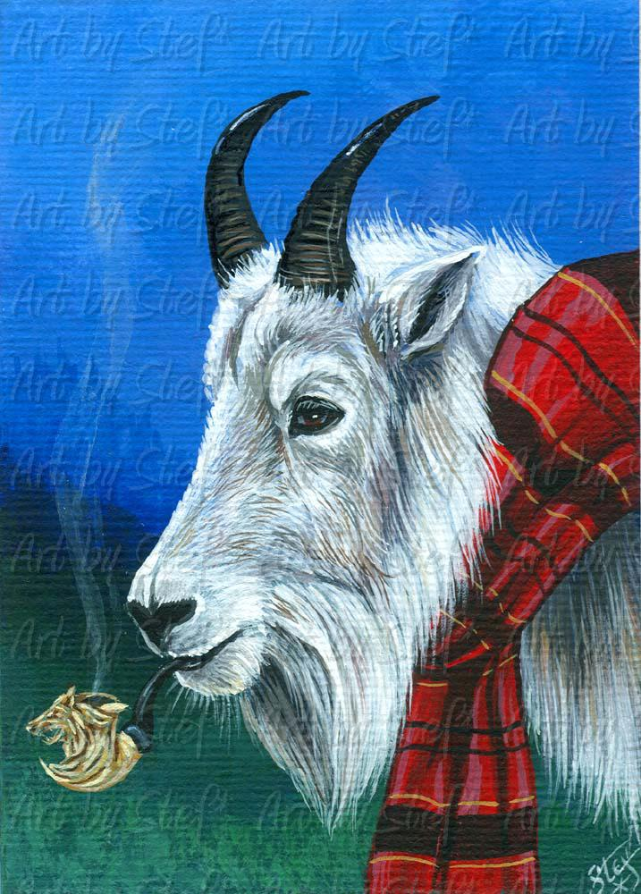 Whimsical; Mountain Goat's Meerscham; ACEO; Stef