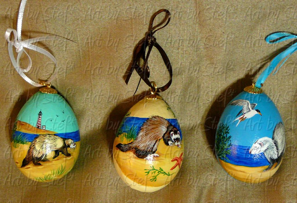 Collectables; Nautical Ferrets Paper Mache Egg Set; Pysanky-Hand Painted Eggs; Stef