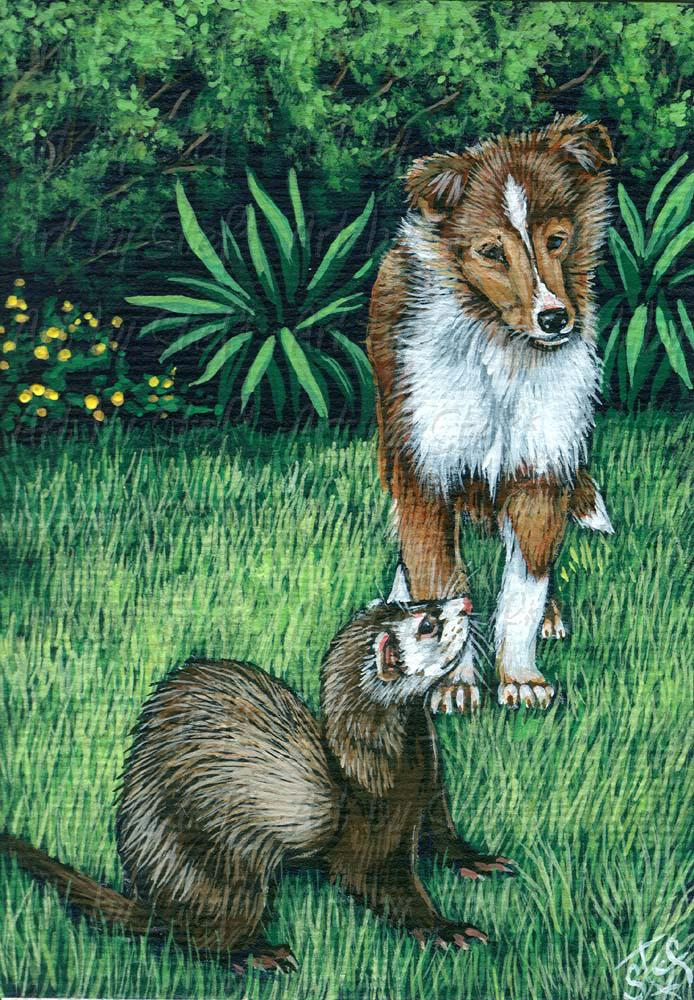 Other Animals; New Playmate; Acrylic ACEO; Stef