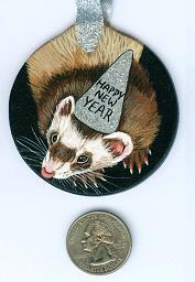 Collectables; New Year's Ferret Chocolate; Handpainted Wood Ornament; Stef
