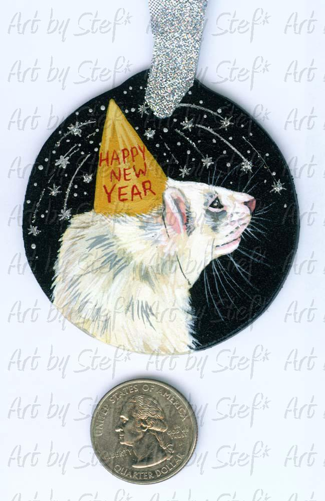 Collectables; New Year's Ferret Marked White; Handpainted Wood Ornament; Stef