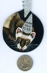 Collectables; New Year's Ferret Sable; Handpainted Wood Ornament; Stef
