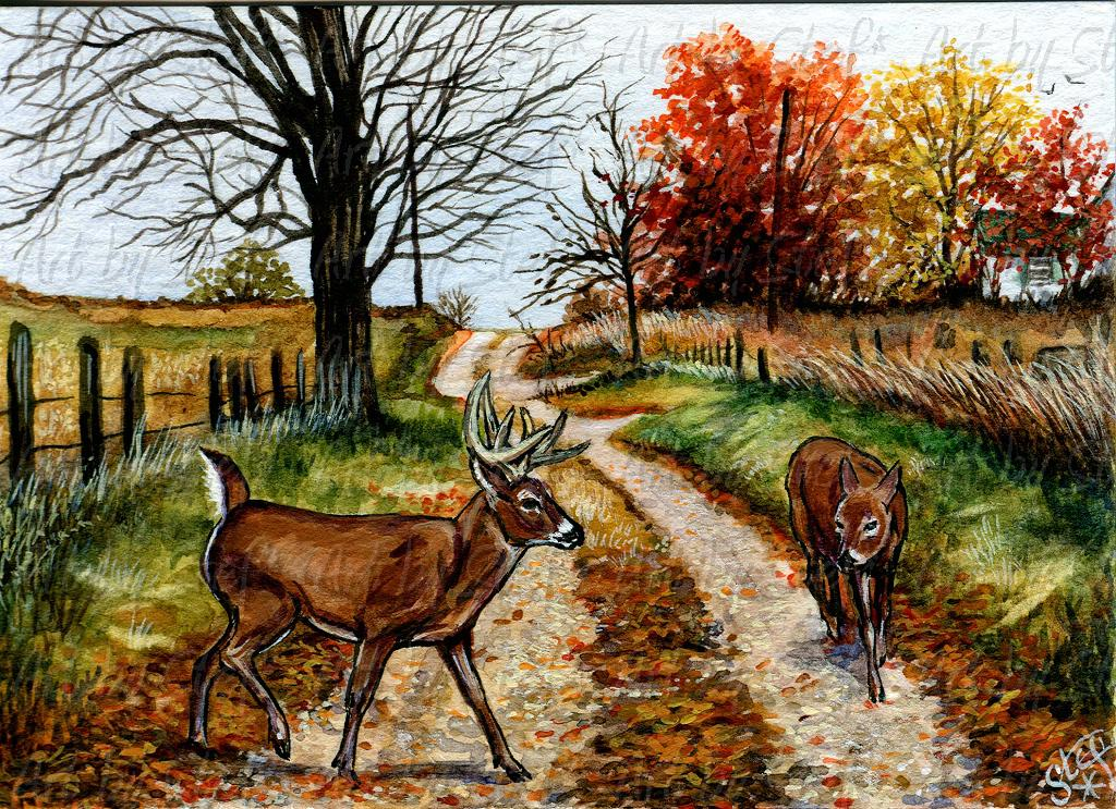Rustic; November Crossing; Watercolor and acrylic ACEO; Stef