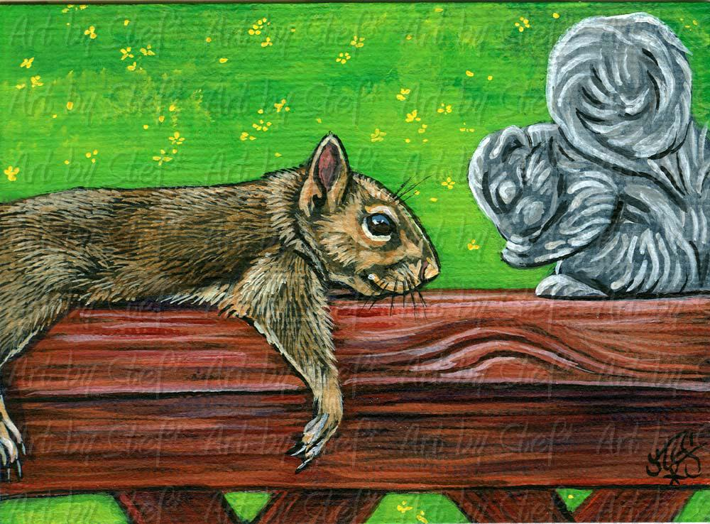 Other Animals; Nuts About You; Acrylic ACEO; Stef