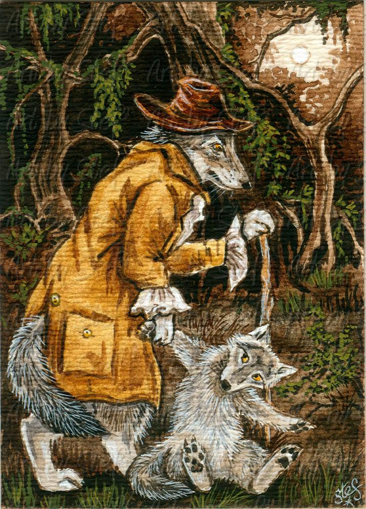 Whimsical; Old Man Werewolf; ACEO; Stef