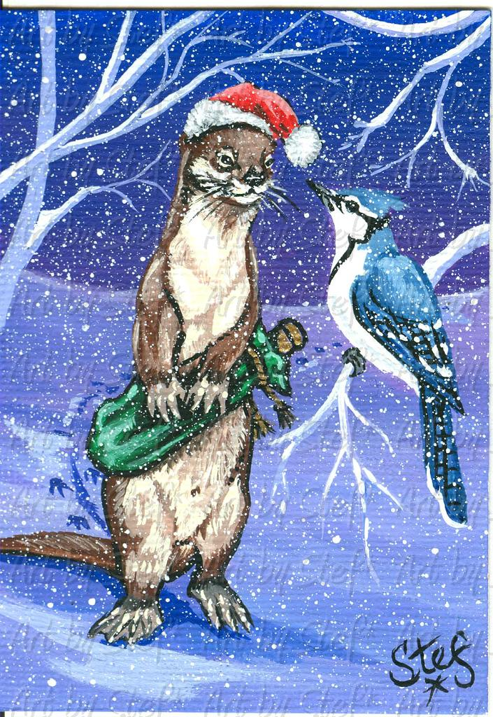 Whimsical; Otter and Jay; Acrylic on canvas ACEO; Stef