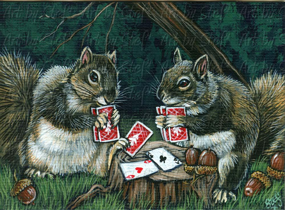Whimsical; Pair of Nuts; Acrylic ACEO; Stef