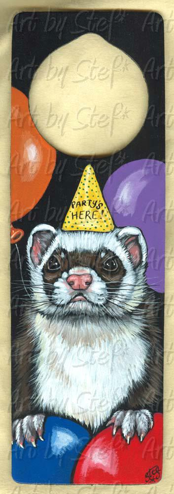 Collectables; Party's Here! Ferret; Hand Painted Doorknob Cozy; Stef