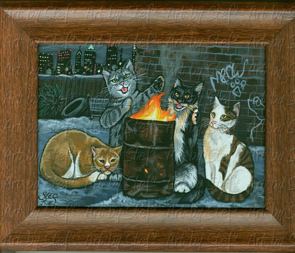 "Whimsical; Philly Cats; Acrylic on 5""x7"" canvas panel, framed; Stef"
