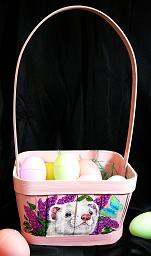 Collectables; Pink Ferret Easter Basket; Handpainted Wooden Easter Basket; Stef