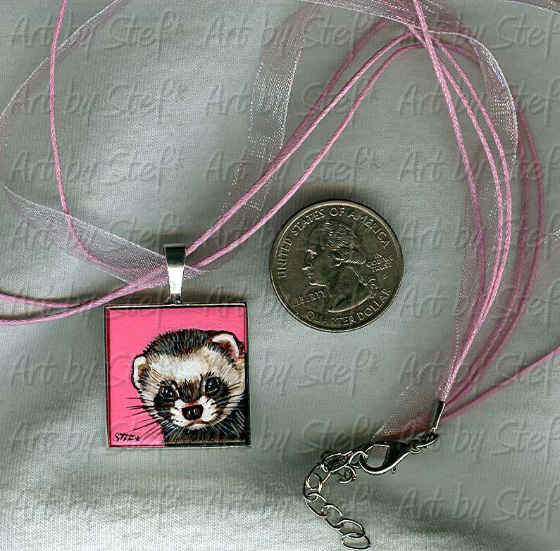 Collectables; Pink Voile Ferret Pendant; Handpainted Tile; Stef