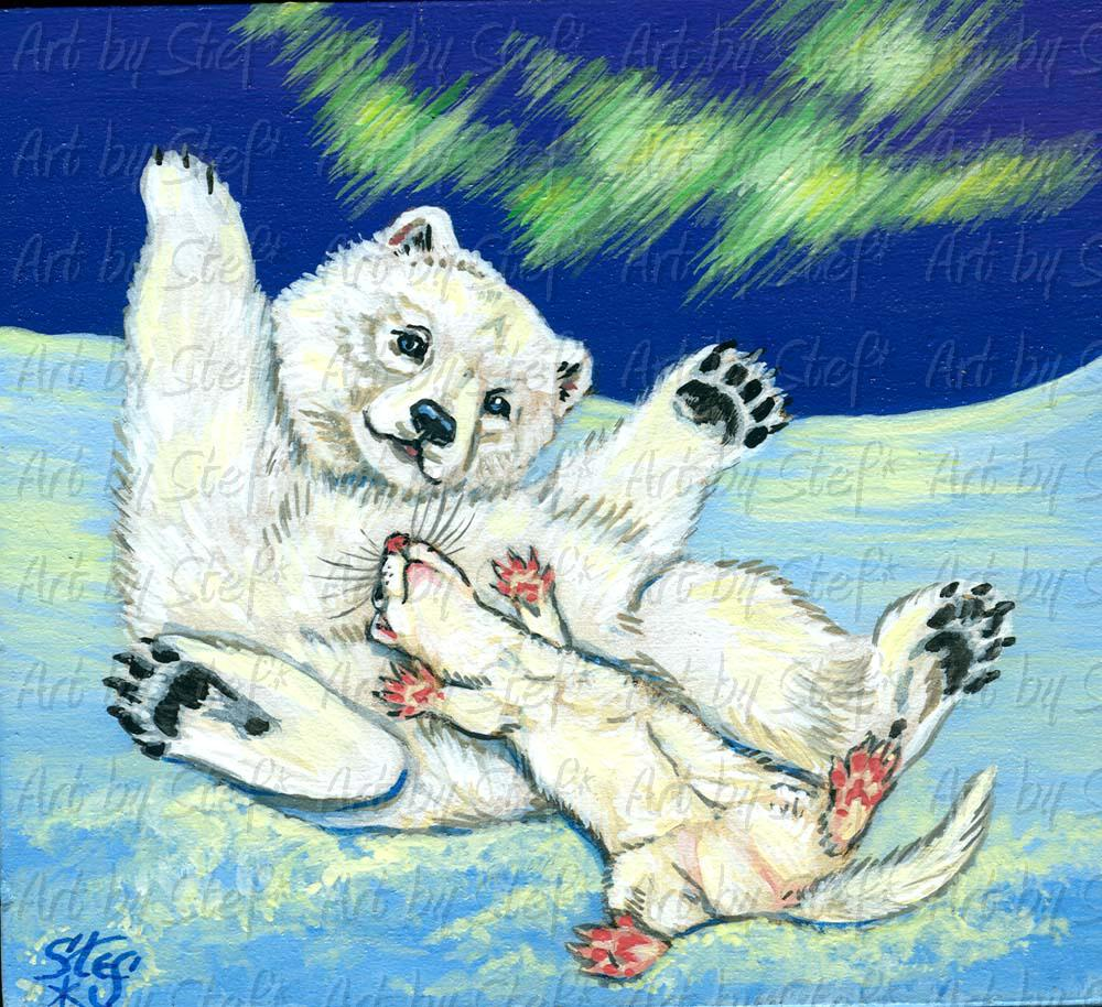 Collectables; Polar Rejoice! Masonite Painting; Handpainted Masonite Block; Stef