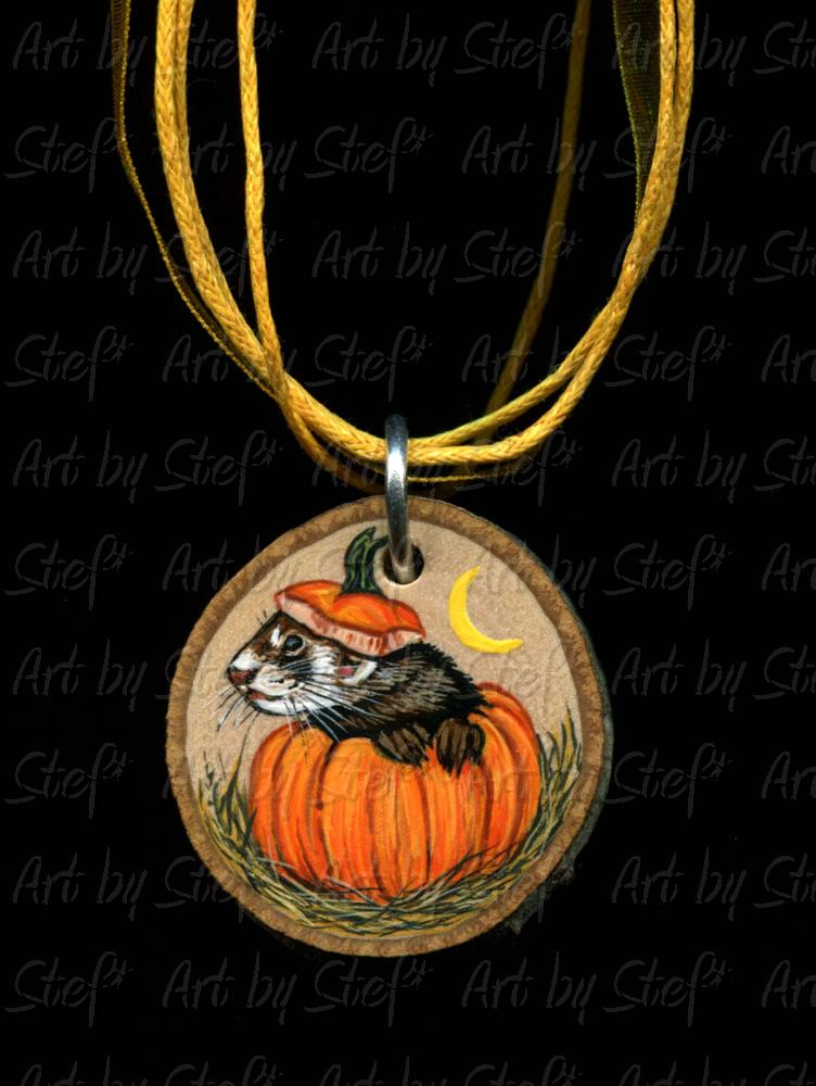 Collectables; Pumpkin Popper; Handpainted Wood Slice; Stef