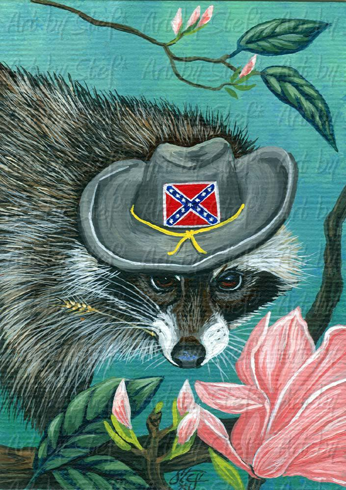 Whimsical; Raccoon Rebel; ACEO; Stef