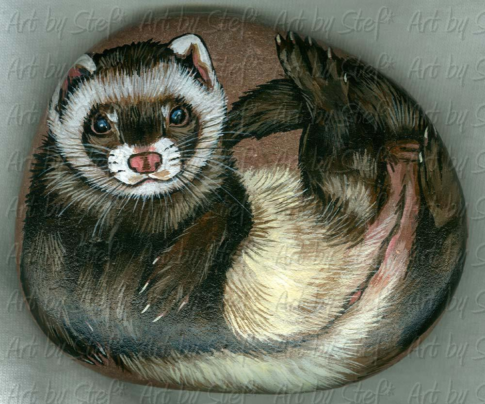 Collectables; Red Rock Ferret; Handpainted river rock; Stef