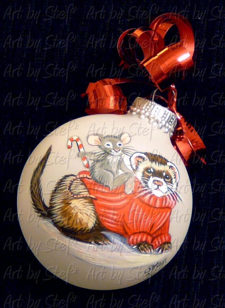 Collectables; Red Sweater Ferret Ornament; Hand Painted Christmas Ball; Stef