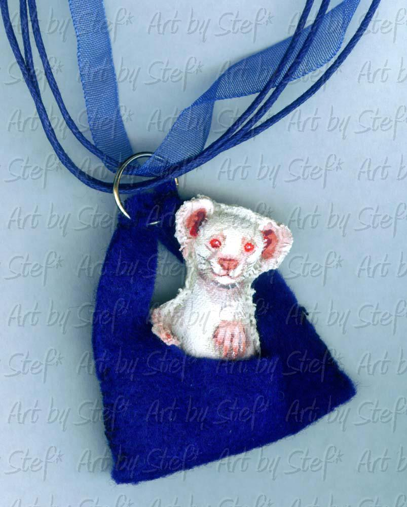 Collectables; Royal Blue Albino Ferret Hammie Doll; Mixed medium; Stef