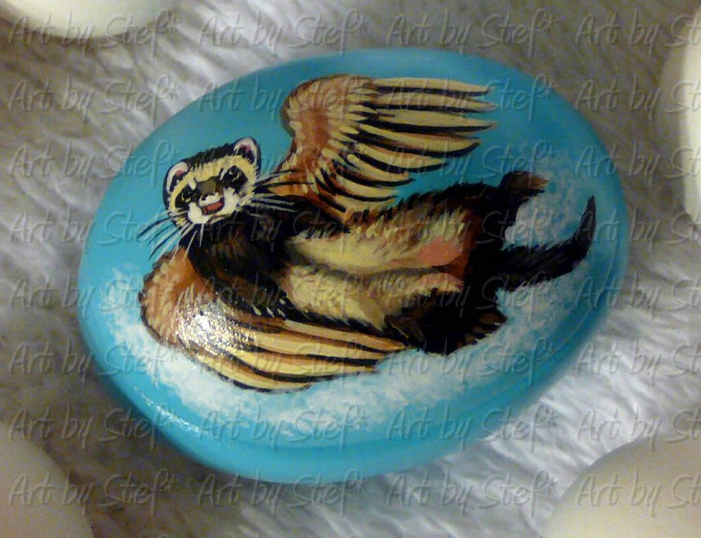 Collectables; Sable Angel Egg Ferret; Hand Painted Ceramic Egg Box; Stef