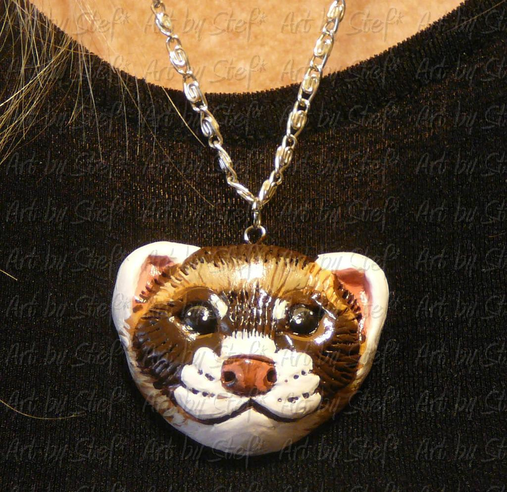Collectables; Sable Ferret Clay Pendant; Hand Sculpted Polymer Clay Pendant; Stef