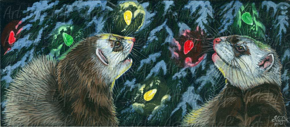 Ferrets; Saw the Lights; Acrylic Painting on Masonite; Stef