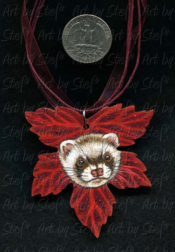 Collectables; Scarlet Maple Ferret Pendant; Handpainted Wood Pendant; Stef