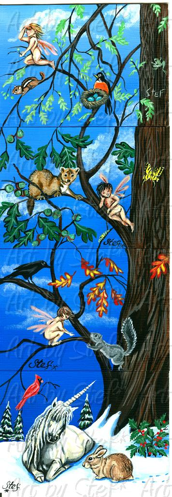 Whimsical; Seasons of the Oak; Four ACEO Set; Stef