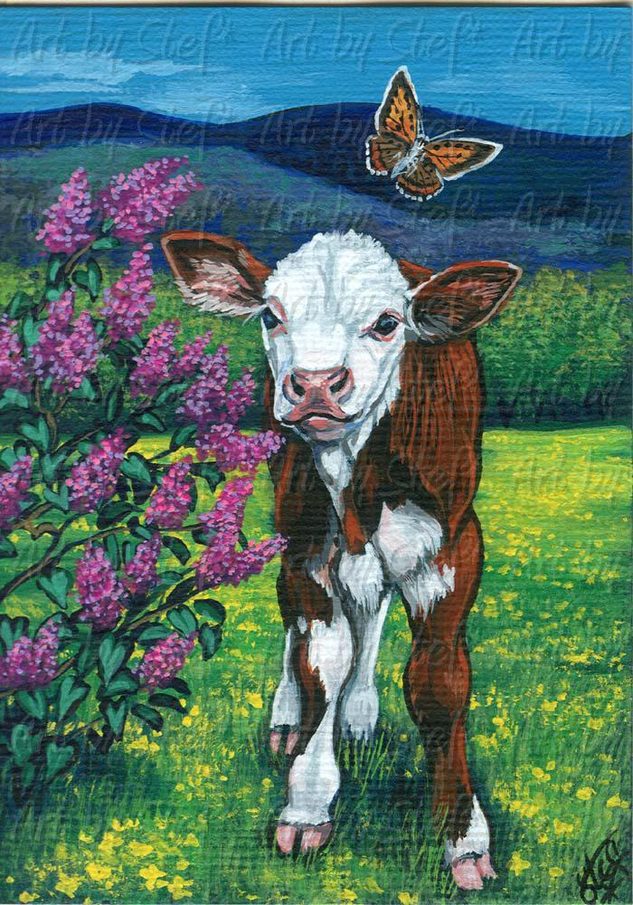 Rustic; Signs of Spring; ACEO Painting; Stef