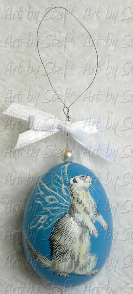 Collectables; Silver Fairy Ferret on Turquoise Egg; Hand Painted Duck Egg (Pysanky); Stef