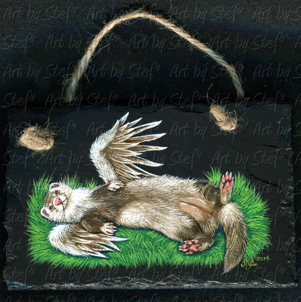 Collectables; Slate Angel Ferret Belly Spread; Handpainted slate; Stef