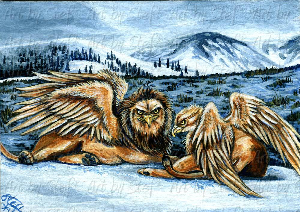 Whimsical; Snow Griffins; ACEO; Stef