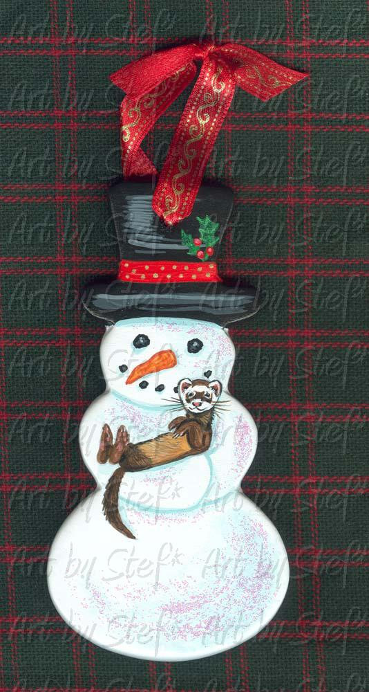 Collectables; Snowman Cradling Ferret; Hand Painted Ceramic Ornament; Stef