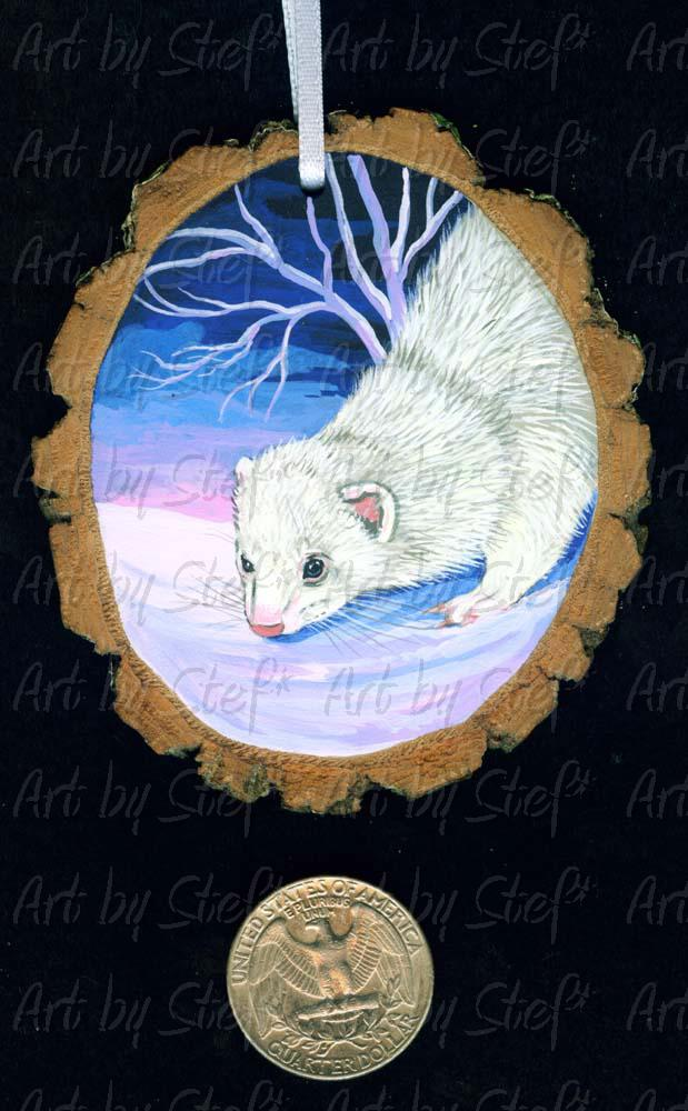 Collectables; Soft Snow Ferret Wood Slice Ornament; Handpainted Wood Slice; Stef