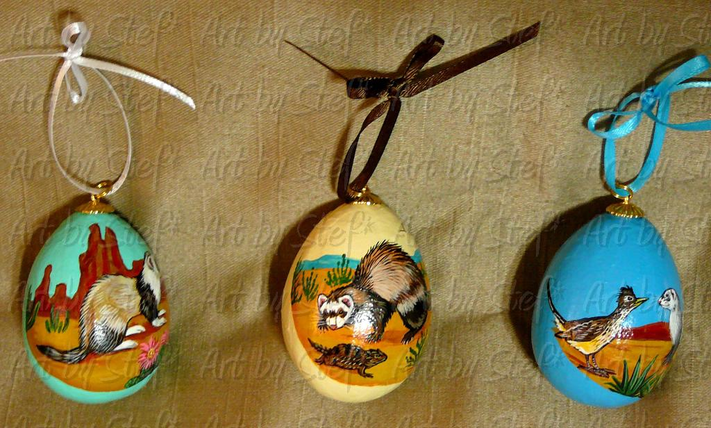 Collectables; Southwestern Ferret Paper Mache Egg Set; Pysanky-Painted Eggs; Stef
