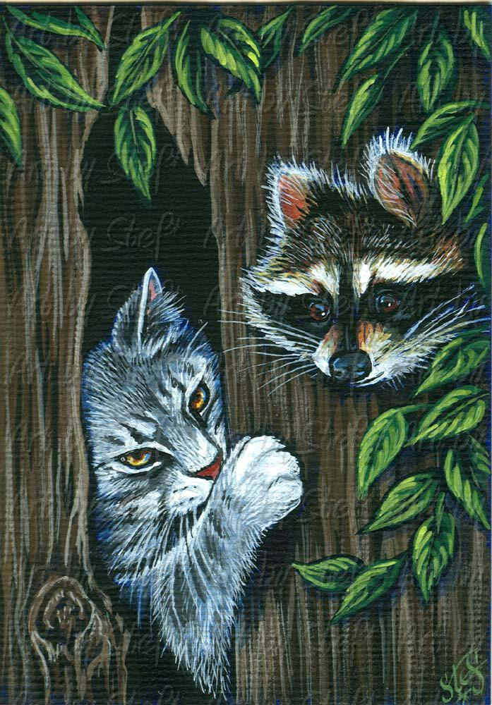 Other Animals; Squatters Rights; Acrylic ACEO; Stef