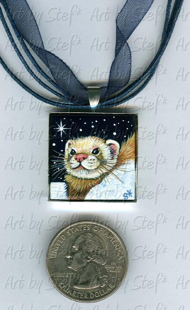 Collectables; Starry Sky Pendant; Handpainted Ceramic Tile; Stef