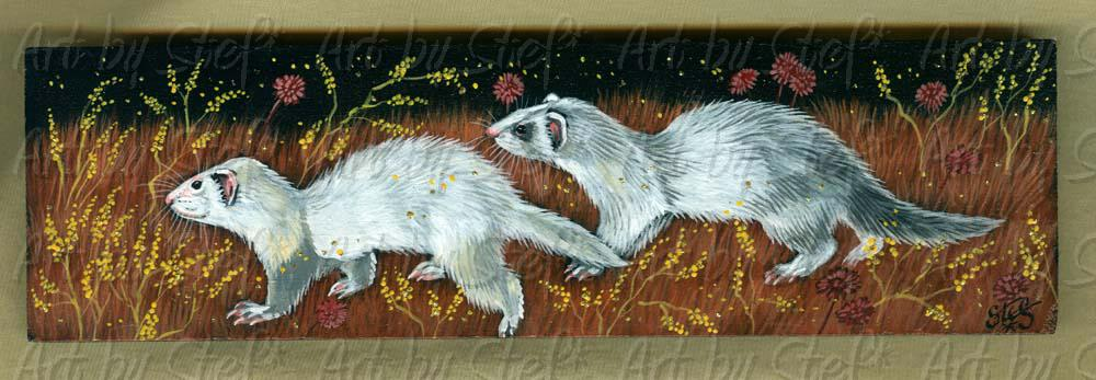 Ferrets; Steal Away; SFA-Acrylic/Glitter on Masonite; Stef