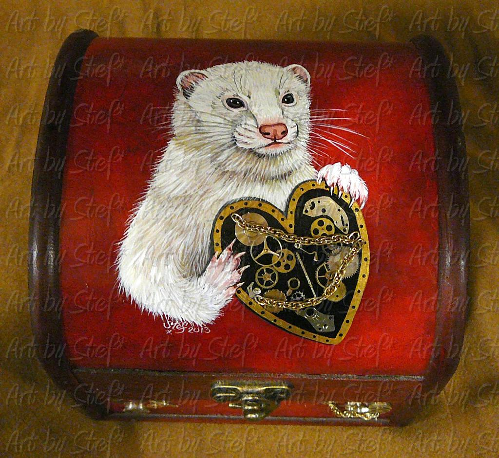Collectables; Steampunk Trunk, White Ferret; Steampunk Art; Stef