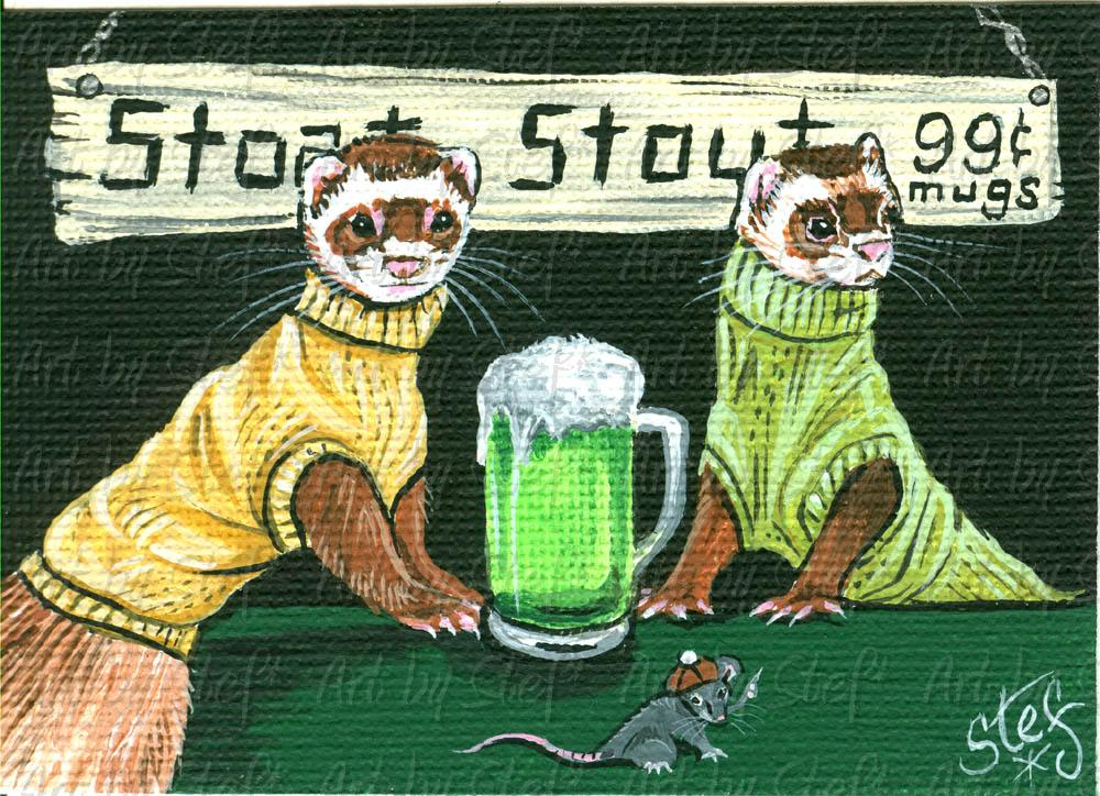 Whimsical; Stoat Stout; Acrylic ACEO; Stef