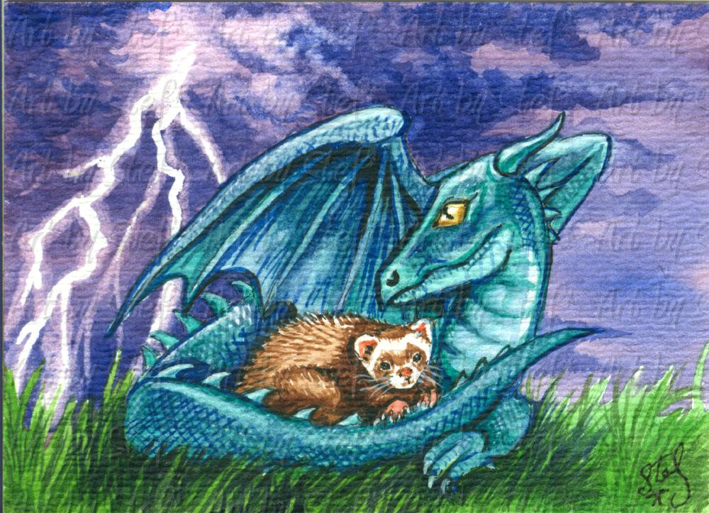 Whimsical; Storm Shelter; Watercolor ACEO; Stef