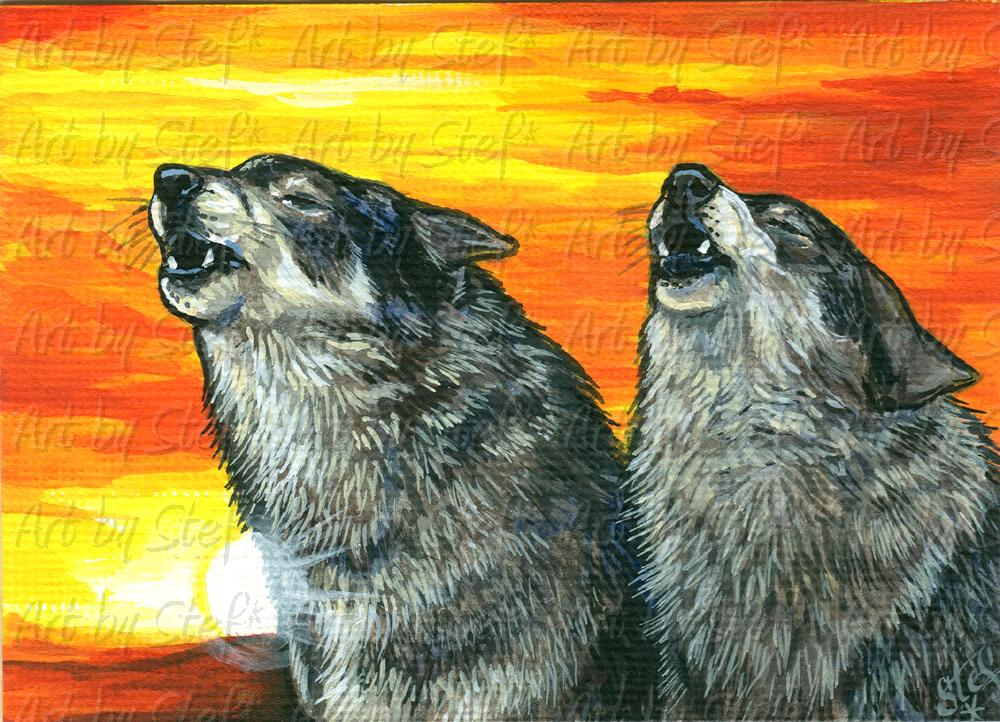 Collectables; Sunset Singers; Acrylic ACEO Painting; Stef
