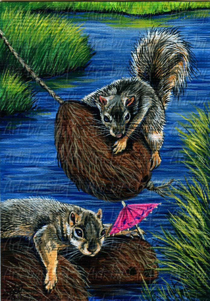 Whimsical; Swingin Nuts; ACEO; Stef