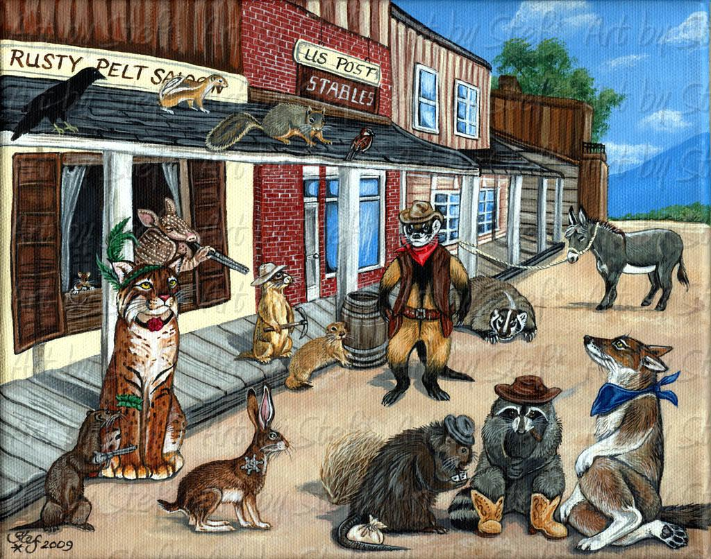 "Whimsical; Tarnation, Polecat Pete's Back in Town; Acrylic on 8""x10"" canvas; Stef"