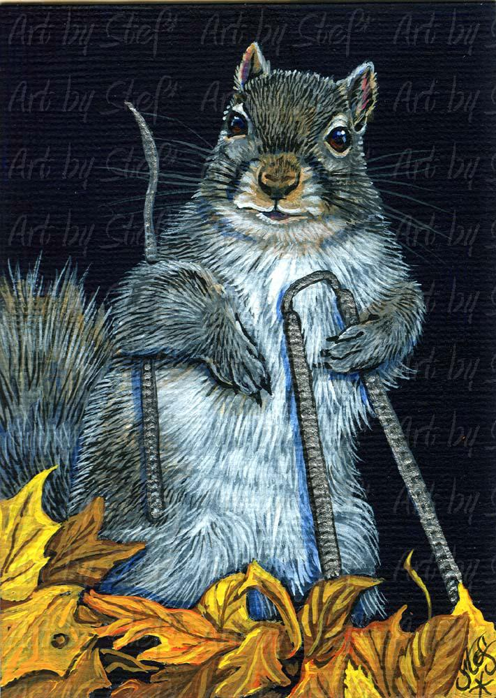 Whimsical; The Nut Job; Acrylic ACEO; Stef