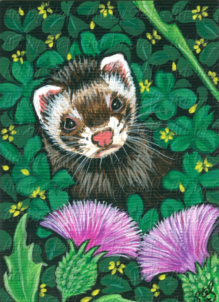 Collectables; Thistle N Clover; Acrylic ACEO Painting; Stef