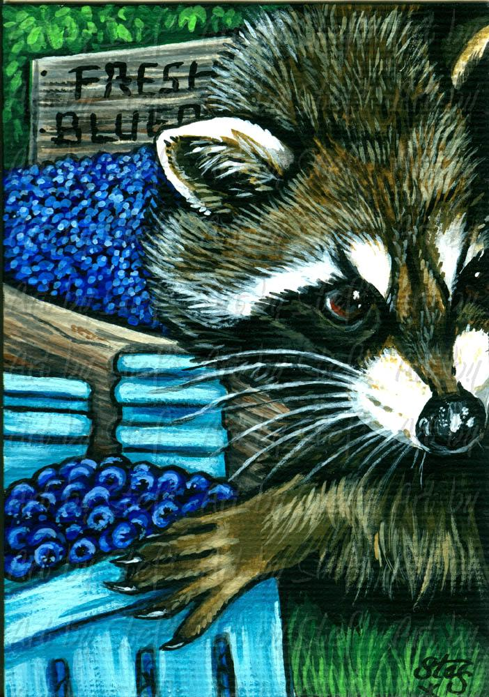 Whimsical; Thrill Seeking Blueberry Thief; Acrylic ACEO; Stef