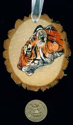 Collectables; Tiger Wood Slice Ornament; Handpainted Wood Slice; Stef