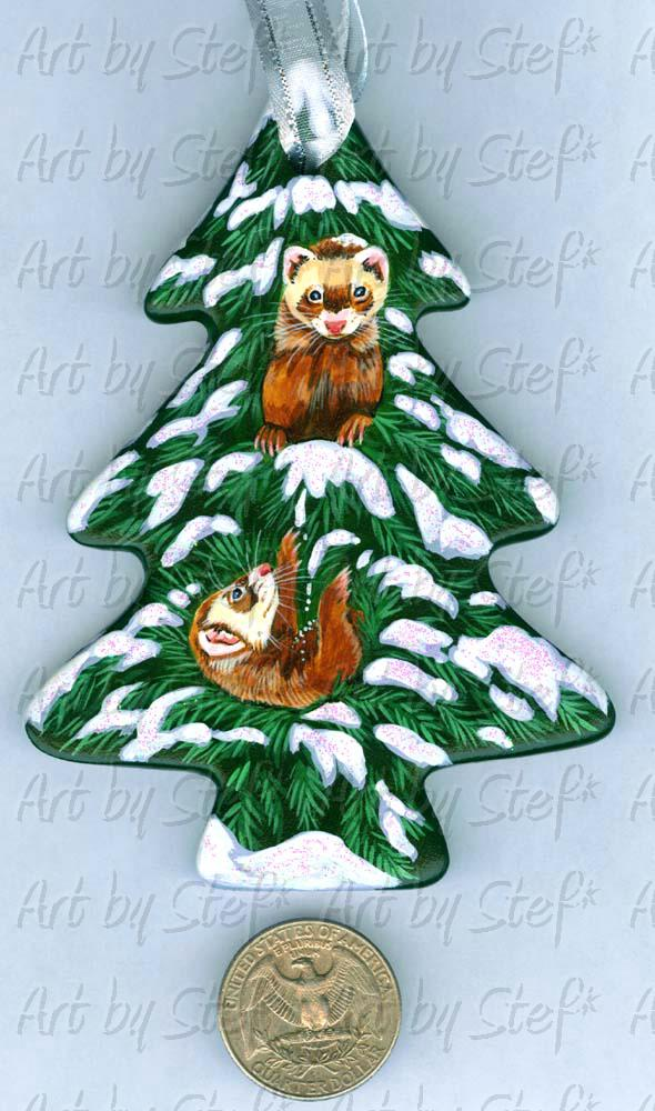Collectables; Tree For Two Ornament; Handpainted Ceramic Ornament; Stef