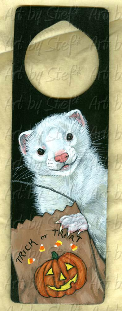 Collectables; Trick or Treat Dew Ferret; Hand Painted wooden Doorknob Cozy; Stef